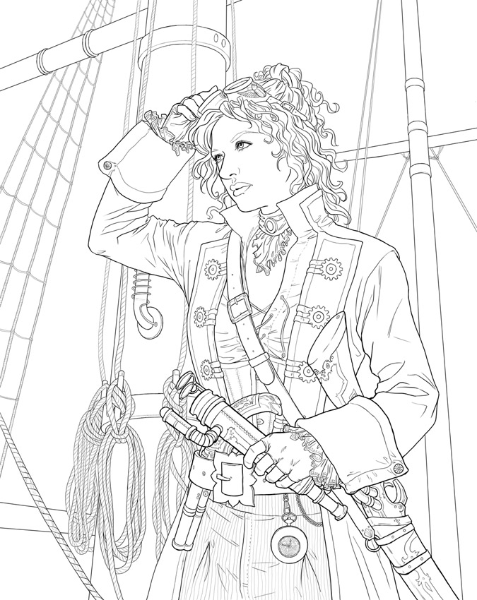 Steampunk Free Colouring Pages